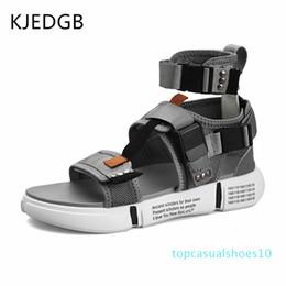 KJEDGB New 2019 Fashion Summer Mens Shoes Gladiator Sandals Designers Platform Comfortable Beach Sandals Male Canvas Men T10