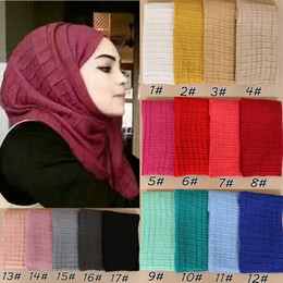 plain cotton voile scarves Promo Codes - Women Cotton Voile Scarf Pleated Square Blocks Wrinkle Crinkle Plain Shawl Muslim Tudung Muslim Hijab Scarves Head Scarf Wraps