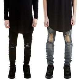 новые джинсы Скидка 2017 рваные новые байкерские джинсы мотоциклетный стиль эластичные мужские джинсы Slim Fit вымытые брюки черные цвета разрушенные мужские брюки