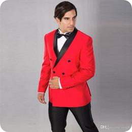 2019 trajes de dos caras Red Groom Tuxedos Men Trajes de Boda Negro Shawl Lapel De dos piezas Ventilación lateral Por encargo Groomsmen Suit Blazer Double Breasted Costume Homme trajes de dos caras baratos