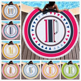 toalhas de praia redondas Desconto Estilo alfabético toalha de praia poliéster rodada tapeçaria hippie colorido toalha de mesa tapete de yoga protetor solar xale envoltório toalha de banho cobertor de praia