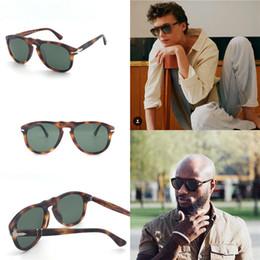 Estuches para gafas de diseñador online-Diseñador de moda gafas de sol 649 clásico retro Piloto marco lente de cristal UV400 gafas de protección con estuche de cuero
