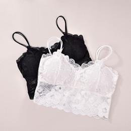 e06d0c358f6 Women Sexy Bra Straps Lace Breathable Chest Pad Sports Underwear Full Cup  Padded lace wrapped chest vest Wire Free tank tops