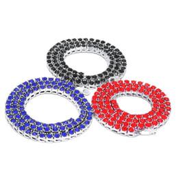 Collar de oro azul collar online-Collar para hombre Iced Out Azul / Rojo / Negro Rhinestones de colores Cadena de tenis de 1 hilera Collar de plata / oro Longitudes Joyería