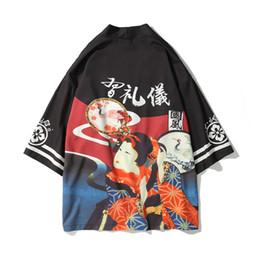 Estilo japonés Impreso Kimono Casual Cardigan Chaquetas Moda Hombres 2018 Nuevo Mens Hip-hop Style Jacket Abrigos Streetwear desde fabricantes