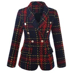 Senhoras lã blazers on-line-Alta Qualidade New Designer Mulheres Blazers Turn Down Collar Double Breasted Wool Plaid Suit Jacket Office Lady Magro Blazer De Lã Casaco A283