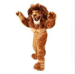 mascote, trajes, leão Desconto Alta qualidade quente Leão Traje Da Mascote tamanho adulto corajoso Leão traje Dos Desenhos Animados do Partido vestido extravagante venda direta da fábrica