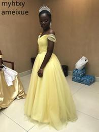 2019 vestido de noite bonito barato Bela Sexy barato A Linha Prom Vestido Fora Do Ombro Tule V Neck Até O Chão Vestidos de Noite Africano Plus Size Longa Festa vestido de noite bonito barato barato