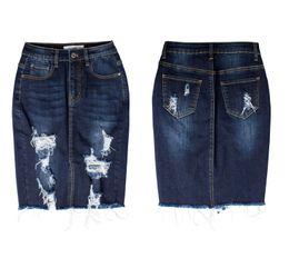 pannello esterno a matita blu scuro Sconti Gonna di jeans donna estate casuale jeans divisi gonna al ginocchio signore vita alta gonna lunga matita colore solido blu scuro borsa denim hip skir