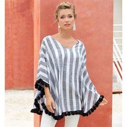 Las mujeres de rayas con cuello en V Capa Tops chal borla Casual Tees mujeres de maternidad ropa de verano camisetas de los tops del Cabo 12PCS LJJ-A2889 desde fabricantes