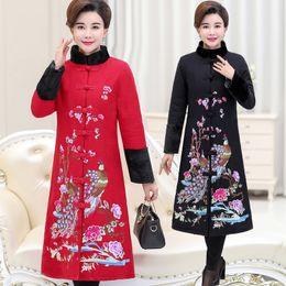Estilo Nacional chino Abrigo Largo Flor Bordado traje tang dama Primavera Otoño Algodón acolchado chaqueta Mujeres Stand Collar Slim Fit Escudo desde fabricantes