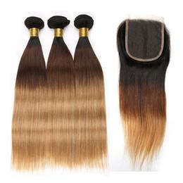 Cabelo remy 27 extensões on-line-1B 4 27 Ombre Humano Pacotes cabelo com fecho da Malásia linha reta cabelo pacotes com 4X4 Lace Encerramento Remy Hair Extension Beyo