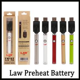 Bateria vapor livre on-line-Autêntico Lei Preaqueça Bateria com Torção Inferior Botão 380 mAh Magro Ego Torção Vape Pen Vaporizador de Tensão Variável para o Óleo Grosso DHL Livre