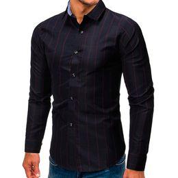 2019 blusa con botones rojos Blusa informal para hombres con un solo pecho Rojo y blanco Cuello vuelto opcional Blusa ajustada de manga larga con blusa # 0725 rebajas blusa con botones rojos