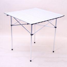 Aluminium-tisch tisch online-Outdoor Picknick Camping Tisch Aluminiumlegierung Grill Klapptische Super Licht Tragbare Freizeit Weiß Praktische Schreibtisch Heißer Verkauf 85hxD1
