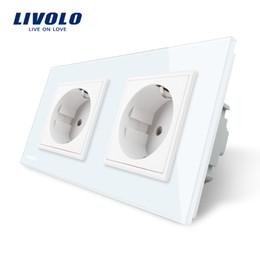 стеклянные розетки livolo Скидка Электрическая розетка Livolo, стандартная ЕС, 4цветная панель из хрусталя, Производитель розетки 16А, двойная розетка ЕС