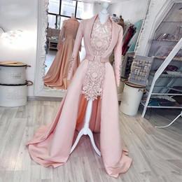 vestido de ocasião especial para mulheres curtas Desconto 2019 2 peças rosa bainha vestidos de noite curtos com casaco de gola V manga comprida cheia de renda vestidos de festa de cetim das mulheres ocasião especial vestido