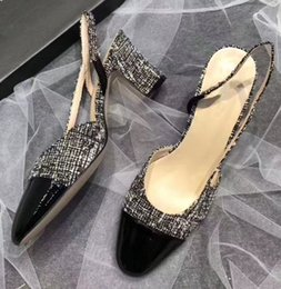 Graue slingback schuhe online-Fashion Damen Tweed Slingbacks Pumps Lackleder Toe Gladiator Sandalen Pink Beige Schwarz Grau Casual Prom Party Mary Janes Schuhe