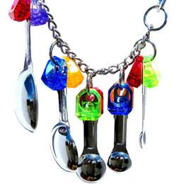 Estresse em aço inoxidável on-line-Handmade Pássaro Chew Toy Parrot de suspensão de aço inoxidável Colher Sports pequenos sapatos de Cordas Pet Jogar Formação Stress Relief