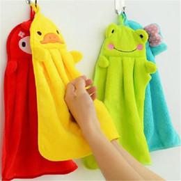 Toallitas para las manos online-Toalla de mano Colgando Cocina Baño Interior Grueso paño suave Limpie Toalla de algodón Paño de cocina Toalla limpia Accesorios