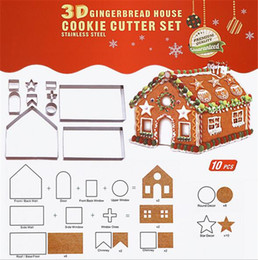 Yeni Bar 3D Gingerbread evi Paslanmaz Çelik Noel Senaryo Çerez Kesiciler Set Bisküvi Kalıp Fondan Kesici Pişirme Aracı nereden