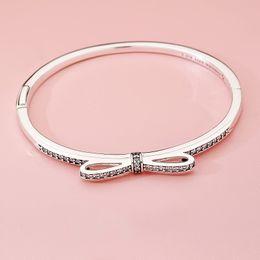 8e321c934 pandora silver bow charm 2019 - NEW Fashion CZ Diamond Women bowknot Bangle  Bracelets Logo Original
