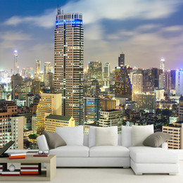 city bedroom wallpaper Promo Codes - City night scene large mural sofa background wallpaper bedroom living room 3D stereo wallpaper Simple and modern wall cover