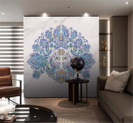 Fondo de pantalla de pavo real 3d online-Custom 3d Wallpaper European Creative Abstract Hand Drawn Blue Peacock Indoor Porch Background Wall Decoration Mural Wallpaper