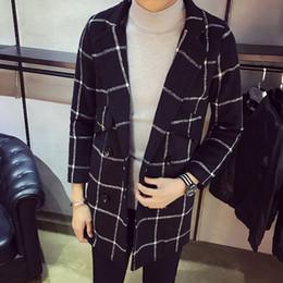 mens di cappotto incappucciato a lana singola Sconti Mens Autunno Inverno Warm WoolBlends Moda Casual Sottile Plaid Doppiopetto Cappotti Giacche di alta gamma di marca di alta gamma Uomo