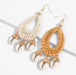 Hot Fashion Jewelry Orecchini a conchiglia intrecciata intrecciata a mano con orecchini di conchiglia intrecciati a mano da