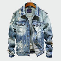 Джинсы chaqueta онлайн-2019 джинсовые мужские куртки Cowboy Slim Fit Bomber Jacket мужская рваная джинсовая куртка хип-хоп уличная одежда пальто Chaqueta Hombre 4XL ML241