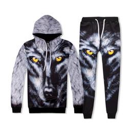 2019 pantalón estampado digital 3D de impresión digital para hombre diseñador de moda chándales la cara del lobo sudaderas Pantalones largos 2pcs sistemas varones Ropa pantalón estampado digital baratos