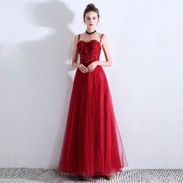 sequin tube Promo Codes - 2019 Fashion New Red Sling Tube Top Evening Dress Floor Length Party Dress Gowns for Woman
