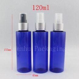 Botellas de spray de plástico azul al por mayor online-Venta al por mayor 120 ml de plástico azul botellas de perfume con spray 120cc boquilla de pulverización de aluminio bomba de niebla fina botellas de cosméticos contenedores