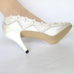 Zapatos de boda de marfil envío gratis online-Envío gratis tacón alto encaje de seda de marfil blanco punta abierta cristal Zapatos de boda Novia zapatos de mujer talla 5-10