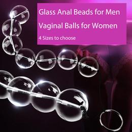 Женские влагалищные пробки онлайн-4 Sizes Glass Anal Beads Vaginal Balls Anal Plug Butt Sex Toy Female Sex Products Vagina Kegel Balls for Women Crystal Massager