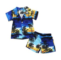 toddler beach set Coupons - Everweekend Toddler Boys Baby Print Trees Tops with Pants Outfits Beach Wears Holiday Summer Cute Baby 2pcs Sets Clothing