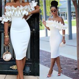 2019 dentelle rouge zuhair murad sirène Soirée élégante blanc pur robes de l'épaule gaine Robes de bal à manches courtes thé longueur Sexy Party formelle robe de célébrité fs8569