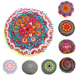 Круглые наволочки онлайн-New Design Multicolor  Mandala blue flower Floor Pillows Round Bohemian Cushion Cushions Pillows Cover Case #XT Pillow Case