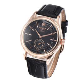 Wholesale Clásico de lujo para hombre relojes de cuero genuino de alta calidad relojes de pulsera pequeño reloj de trabajo regalo de Navidad RLX