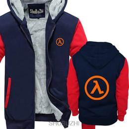 medias sudaderas con capucha Rebajas Half Life 2 - Sudaderas gruesas con capucha de videojuego Lambda Chaquetas superiores, chaqueta de hombre de estilo de moda, chaqueta de algodón clásica chaqueta de invierno sbz4298