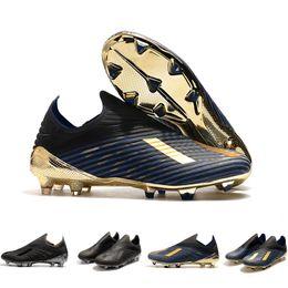 Carregadores de futebol on-line-Nova Laceless X 19 + FG Mens Formadores Sapatos de Futebol Chuteiras Escuro Script 302 Redirect Pack Preto Marinho Crampons De Botas de Futebol Tênis de grife