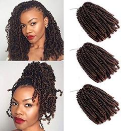 extensiones de cabello de primavera Rebajas Spring Twist Crochet Hair Ombre Brown Crochet Trenzas 8 pulgadas Spring Well Synthetic Twuffy Twist Hair Extension