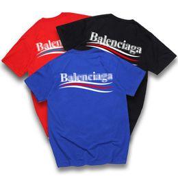 2019 neuheit muskelhemden T-Shirt männliche und weibliche Baumwolle Welle Streifen Cola Kurzarm Paris Rundhals lose halbe Hülse neue Art Fabrik Großhandel