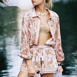 Argentina Bohemia estampado floral blusa Tops mujeres algodón botones de manga larga Rosa Boho Beach Holiday Seaside Blusas Top mujer primavera verano nuevo supplier pink floral blouse Suministro