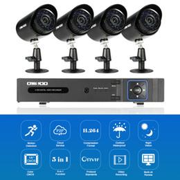 Sistemas de grabación de cámaras de seguridad online-OWSOO 4CH 1080P 5-en-1 Grabador de video digital + 4 * 720P AHD IR CCTV Camera + 4 * 60ft Cable de vigilancia para el sistema de seguridad CCTV