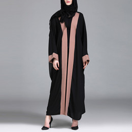 vestes bordadas Desconto Moda Muçulmano Abaya Mulheres Vestuário Islâmico Preto Sólido Bordado Splice Frente Aberta Longo Casaco Médio Oriente Longo Robe 4.12