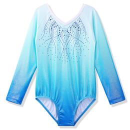 2020 leotardo de diamante BAOHULU ToddlerTeens Leotard de las muchachas para la gimnasia de ballet infantil de manga larga Traje de diamante Leotardo danza 3-14 años leotardo de diamante baratos