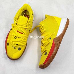 2019 тканевый баскетбол Губка Baby Yellow nike kyrie 5 sponge bob Irvings 5 Баскетбольная обувь Дышащая трикотажная ткань Mid Designer Спортивная обувь Высокое качество Новые поступления с коробкой дешево тканевый баскетбол