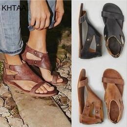 avvolge il tallone Sconti KHTAA Women Gladiator Sandals 2019 Ankle Wrap Zipper Ladies Peep Toe scava fuori scarpe da spiaggia Moda femminile Calzature Plus Size